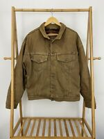 VTG RARE Levi's Aztec Blanket Lined Brown Denim Trucker Jean Jacket Size L