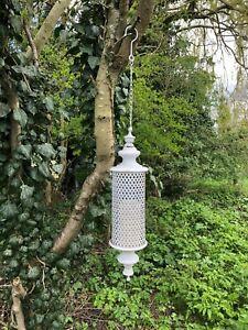 hanging lantern white rustic metal