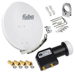 FUBA DAA850 SAT Antenne Alu Spiegel 85cm Schüssel + 4K 3D Premium Twin HB HD LNB