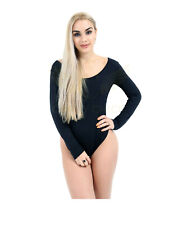 Women's Black Round Neck Leotards Long Sleeve Viscose Top Dance Wear Or W/ Jeans