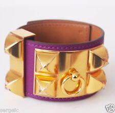 New Authentic HERMES CDC Collier de Chien Anemone Purple GHW Gold hardware