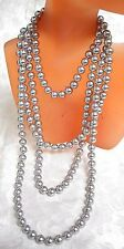 "65"" LONG GRAY 8MM MAJORCA/MALLORCA PEARL NECKLACE NO CLASP 3 LOOPS faux majorica"