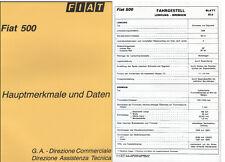 FIAT 500 F/L/R principali caratteristiche e dati numero d'ordine 1074