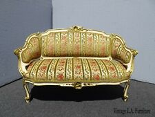 Antique French Louis Xv Country Low Profile Gold & Red Stripped Velvet Settee