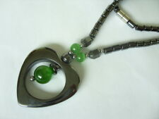 43 cm Hämatit Magnet Kette m.Herz Anhänger & grünen Katzenauge m.Magnetschließe