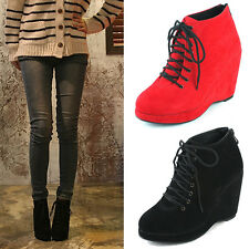 Epicsnob Womens Shoes Wedge Heel High Top Bootie Boots Platform Fashion Sneakers