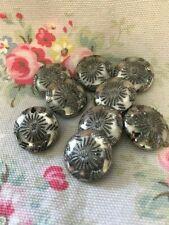 9 Vintage Decorative Silver Glass Buttons