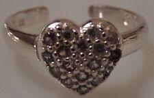 Argento 925 1,9 grammi zircone cubico Dita piede A Cuore Per Anello