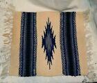 "Small Blue Southwestern Wool Handwoven Rug 12"" x 9.5"""