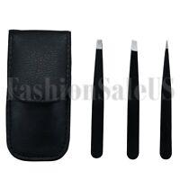 3pcs Pro Stainless Steel Slant Tip Eyebrow Tweezer Hair Removal Makeup Tools Set