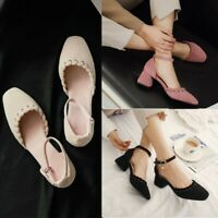 Women's Ankle Strap Chunky Heels Round Toe Pumps Suede Sandals Casual Shoes New