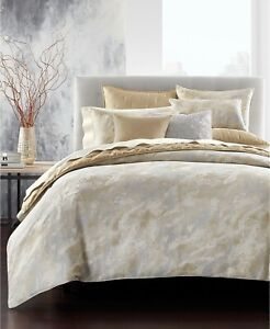 Hotel Collection KING Comforter Metallic Stone Crackle GOLD J0Z247