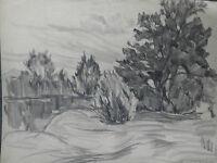 Bleistiftzeichnung,um 1900,Auguste Reissmüller,1869-1958, München, Landschaft