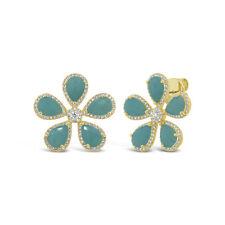 14K Yellow Gold Pear Cut Natural Amazonite Round Diamond Daisy Flower Earrings