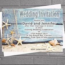 Beach Wedding Evening Day Starfish Shells Drift Wood Invites x 12 with env H1564