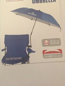 Beach Chair Clamp On Umbrella UPF 50+  Protection Blue