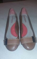 Ladies Hushpuppies brown low wedge, leather upper size 7M