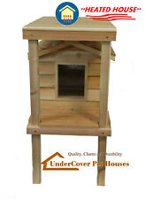 HEATED INSULATED CEDAR OUTDOOR CAT HOUSE, FERAL SHELTER WITH PLATFORM & LOFT