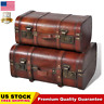 2PCS Wooden Treasure Chest Box Storage Trunk Antique Style Latches Brown Stylish