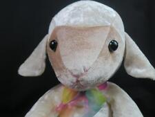 KELLYTOY SHEEP LAMB GOD RAINBOW SATIN BOW SHINY CREAM PLUSH STUFFED ANIMAL TOY