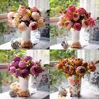 Artificial 1 Bouquet 8 Head Peony Silk Flower Fake Leaf Home Wedding Party Decor