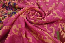 Vintage Silk Blend Fabric Indian Wrap Floral Print Pink Saree Ethnic Women Sari