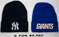 READ ALL! New York Yankees / Giants HEAT Set Flat Logos 2 Beanie Knit Cap hat