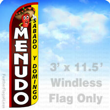 3x11.5' WINDLESS Swooper Feather Flag Banner Sign - MENUDO SABADO Y DOMINGO q