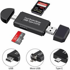 Micro SD/TF Compact Memory Card Reader w/ 3 in 1 USB Type C/Micro USB Male & OTG