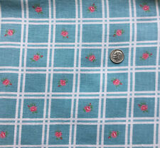 "Vintage Full Feed Sack  Small Roses in Squares on Lovely Sky Blue 43"" x 36"""