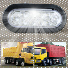 "White 6"" Oval LED Stop Turn Tail Side Marker Light Surface Mount Truck Trailer"