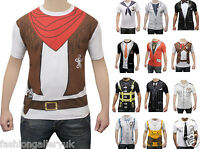 Mens Printed T-Shirt Fancy Dress Costume Party Casual T-Shirts Cowboy Doctor