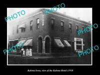 OLD LARGE HISTORIC PHOTO OF KALONA IOWA, VIEW OF THE KALONA HOTEL c1910