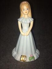 Vintage 1982 Enesco Growing Up Birthday Girl Porcelain Figurine 10 Years W/ Rose