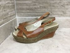 Russell & Bromley Candy Girl Tan Leather Slingback Wedges Sandals 25cm approx 6