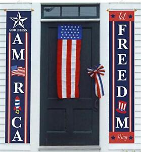 4Th Of July Porch Sign Patriotic Door Decoration Let Freedom Ring Outdoor Decor