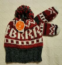 NWT Red & Gray Lined Knit Hat and Mittens Size M 2T/3T  The Children's Place