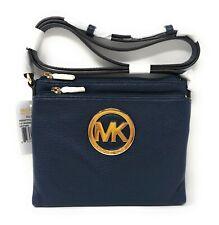 Nwt Michael Kors Fulton Leather Crossbody Bag in Navy/Gold Tone