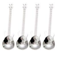 Guitar Coffee Teaspoons,4 Pcs Stainless Steel Musical Coffee Spoons Teaspoo A9L7