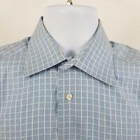 Ike Behar New York Men's Blue White Check L/S Dress Button Shirt Sz 15 - R