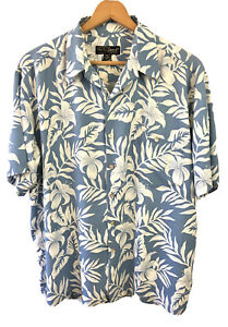 Tori Richard Blue Floral Hawaiian Camp Shirt Size XL Short Sleeve Button Up