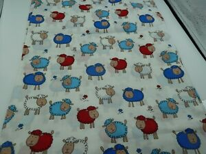 Cotton Fabric FQ - SHEEP on White