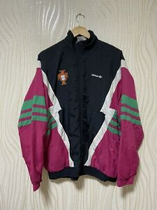 PORTUGAL 90s VINTAGE FOOTBALL SOCCER FULL ZIP JACKET TOP ADIDAS sz L