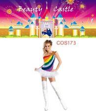 Rainbow USA School Girls Cheerleader Fancy Dress Uniform Party Costume COS173