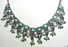 Vintage Stella & Ruby Turquoise Statement Necklace Dangles