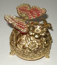 New ListingVintage Japan Taj Music Box Of Butterfly And Flower Wings Flap And Flower Spins