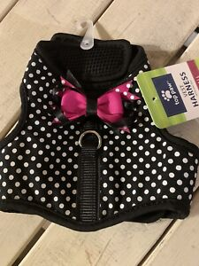 XS Top Paw Polka Dots Pink Bow Dog Puppy Harness