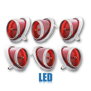 65 Chevy Impala Caprice LH & RH Red LED Tail & Back Up Light Lenses Trim Set