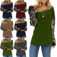 Women Leopard Print Cold Shoulder Tops Ladies Long Sleeve Casual Blouse T Shirt