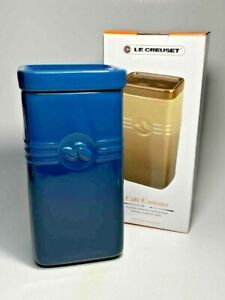 Le Creuset Coffee Canister Jar with Lid 2 Qt Ink Blue Color - New In Box!